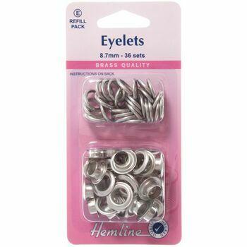 Hemline Eyelets Refill Pack - Nickel/Silver (8.7mm) (E)