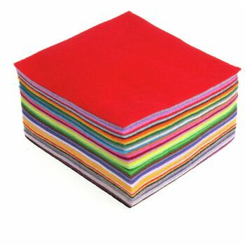 Trimits Felt Acrylic Squares: 15 x 15cm: Mixed Colours - 42 Pieces