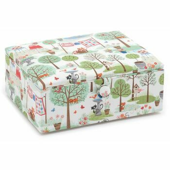 Hobby Gift Premium Collection Large Sewing Stool - Crafty Cats in the Garden
