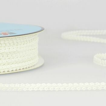 Stephanoise Trim Gimp Braid: Small: 6mm: Ivory: Per metre