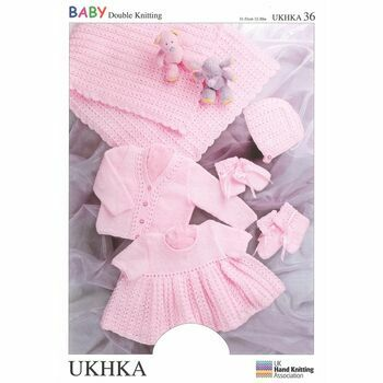 UKHKA Pattern DK n.36: Shawl/Cardi, Dress, Hat, Mitts & Bootees