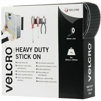 Velcro Hook & Loop Tape - Heavy Duty Stick On: 50mm: Black: Per Metre