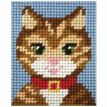 Orchidea My First Embroidery Needlepoint Kit - Tabby Cat