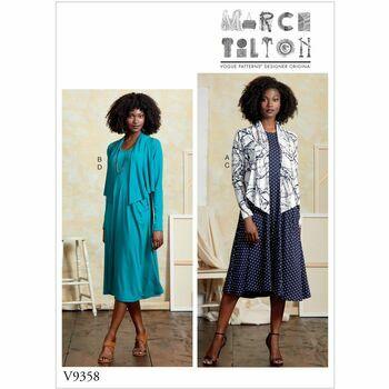 Vogue Pattern V9358 Misses\' Shrug and Dress