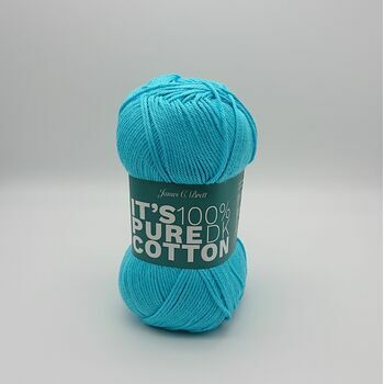 James C Brett It's Pure Cotton DK Yarn - Teal Blue - 100g