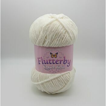 James C Brett Flutterby Quick Knit Yarn - Cream - 100g