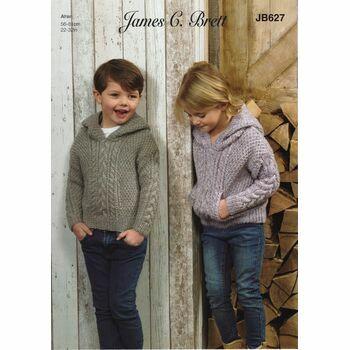 Brett Pattern Aran Child\'s Hoodie JB627