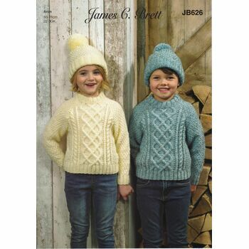 Brett Pattern Aran Hat & Sweater JB626