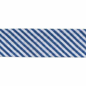 Essential Trimmings: Bias Binding: Cotton: Printed: Stripes: 20mm: Navy