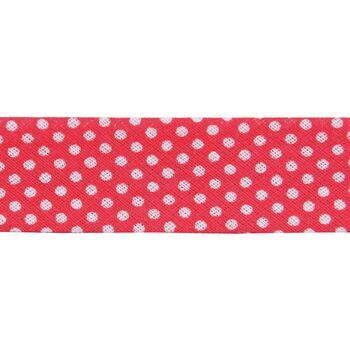 Essential Trimmings Cotton Printed Bias Binding - 20mm (Red Dots) - Per Metre