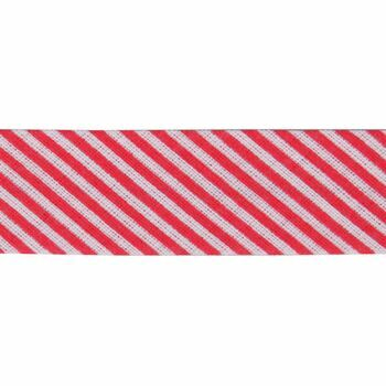 Essential Trimmings: Bias Binding: Cotton: Printed: Stripes: 20mm: Red