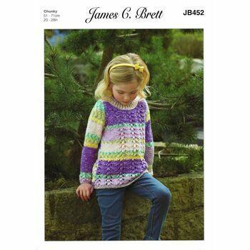 Brett Chunky Child's Sweater Knitting Pattern JB452