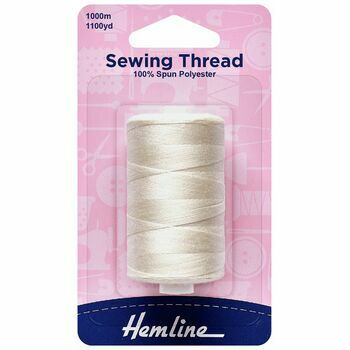 Hemline Polyester Tacking Sewing Thread (1000m) - Natural Colour