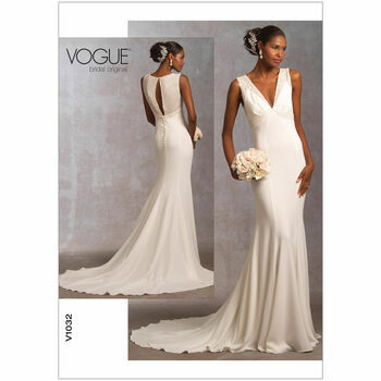 Vogue Pattern V1032 Misses\' Empire-Waist Dress with Train
