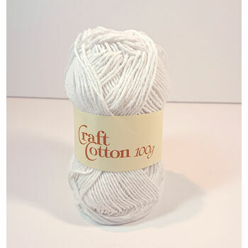 James C Brett Craft Cotton - White (100g)