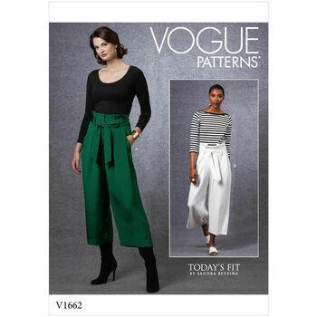 Vogue Pattern V1662 Misses Pants & Belt