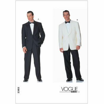 Vogue Pattern V2383 Men's One Button Tuxedo Jackets and Pants