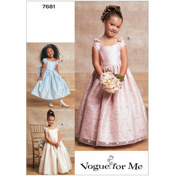 Vogue Pattern V7681 Children's/Girls' Cap Sleeve Dresses