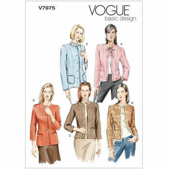 Vogue Pattern V7975 Misses\' Petite Collarless Jackets