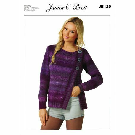 James C Brett Marble Chunky Knitting Pattern JB129 Ladies Cardigan
