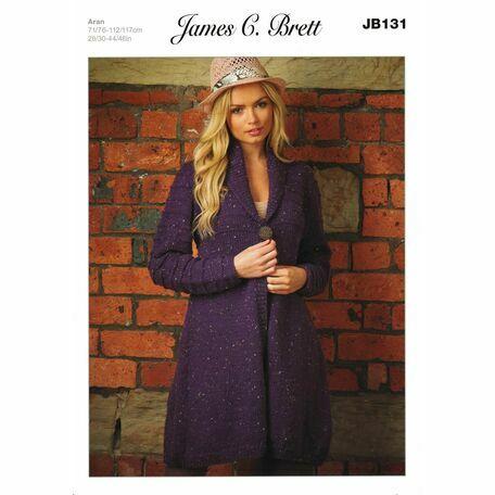 James C Brett Aran Knitting Pattern JB131 Ladies Cardigan