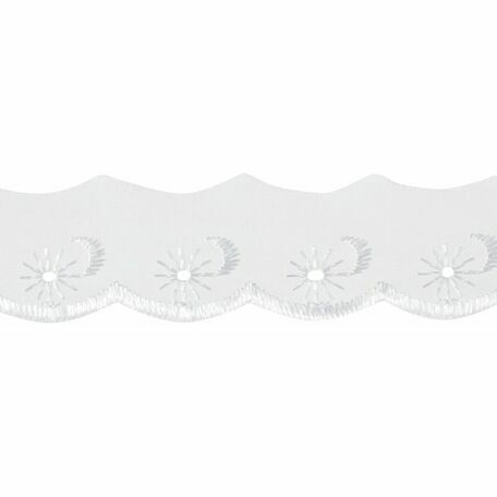 Essential Trimmings Broderie Anglaise Scalloped Lace Trim - 25mm (White) Per metre