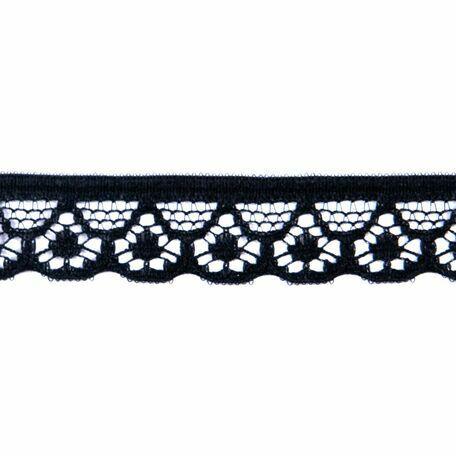Essential Trimmings Narrow Nylon Lace Trimming - 10mm (Black) Per Metre