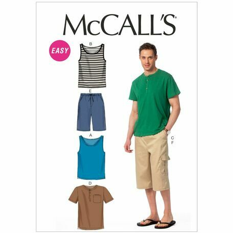 McCalls Pattern M6973 Men's Tank Tops, T-shirts and Shorts