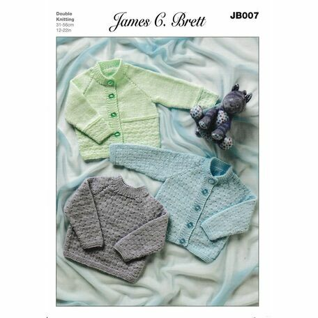 James C Brett DK Knitting Pattern JB007 (Baby Cardigan/Sweater)