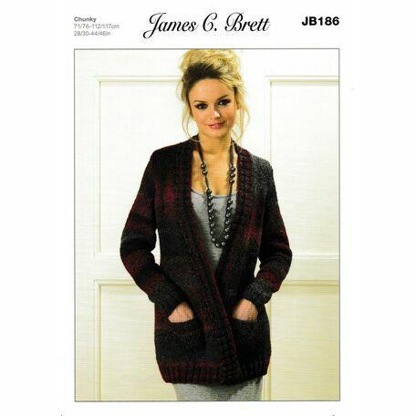 James C Brett Chunky Knitting Pattern Jb186 Womens Jacket Only 3 50