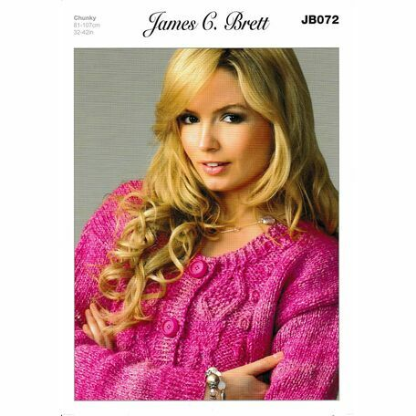 James C Brett Chunky Knitting Pattern JB072 (Womens Cardigan)