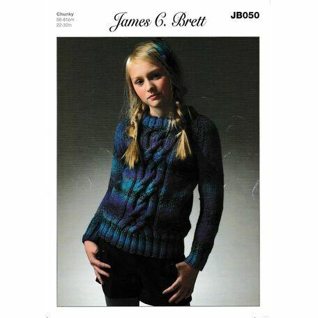 James C. Brett JB050 Chunky Knitting Pattern (Girls Sweater)