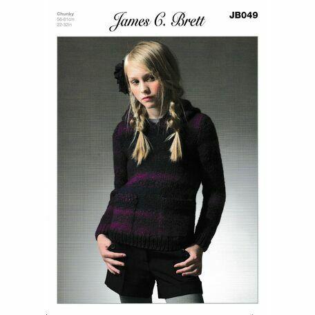 James C Brett Chunky Knitting Pattern JB049 (Girls Hooded Sweater)