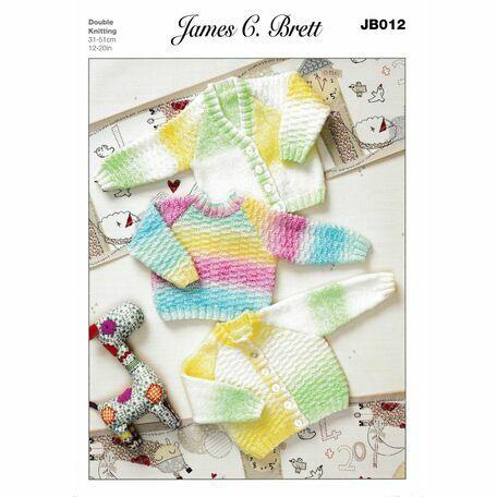 James C Brett DK Knitting Pattern JB012 (Baby Sweater)