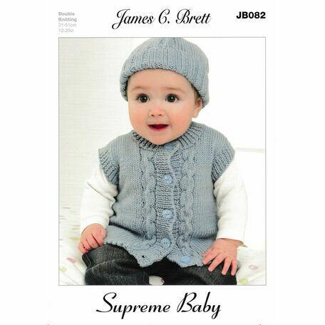 James C Brett DK Knitting Pattern JB082 (Baby Cardigan/Hat/Mittens)