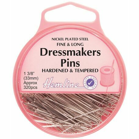 Hemline Fine & Long Dressmakers Pins - 33mm (320pcs)