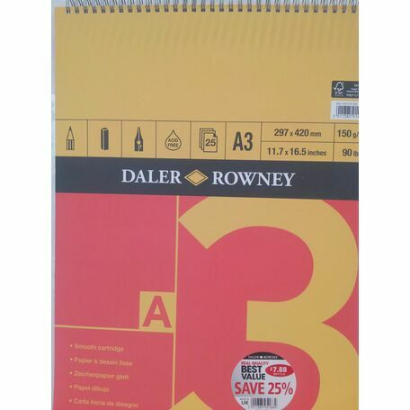 Daler Rowney Red & Yellow Spiral Smooth Cartridge (A3)