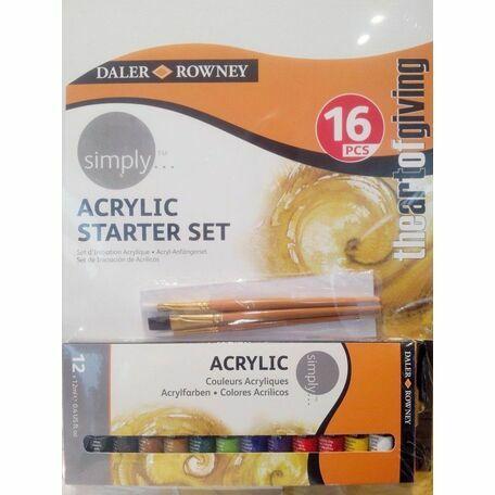Daler Rowney Simply Acrylic Starter Set (16pcs)