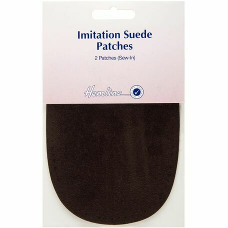 Hemline Sew-In Imitation Suede Patches - Brown