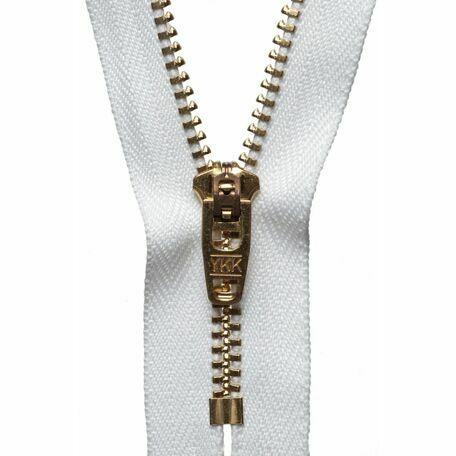 YKK Brass Jeans Zip - White (10cm)