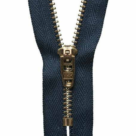 YKK Brass Jeans Zip - Dark Navy (15cm)