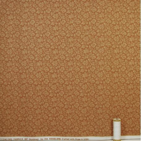 Terracotta and White Leaf Pattern Fabric: 100% Cotton