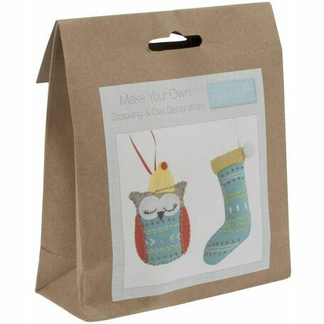 Trimits Felt Christmas Decoration Kit - Christmas Stocking and Owl
