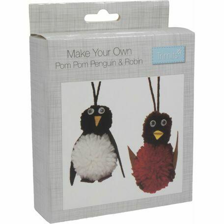 Trimits Pom Pom Decoration Kit - Robin & Penguin