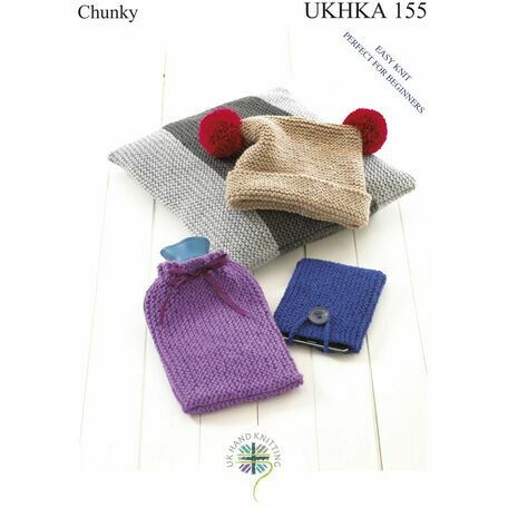 UKHKA 155 Easy Knit: Hat, Cushion, Hot Water Bottle & Phone Covers