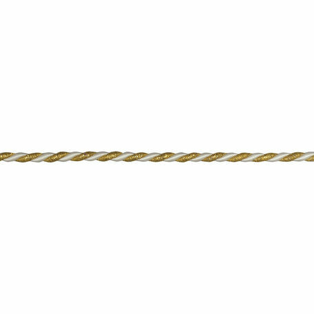 Essential Trimmings Cord - 6mm: Gold/White (Per Metre)